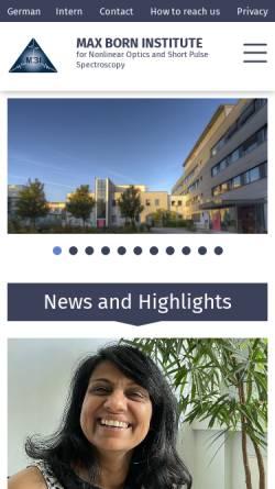 Vorschau der mobilen Webseite mbi-berlin.de, Max-Born-Institut Berlin (MBI)