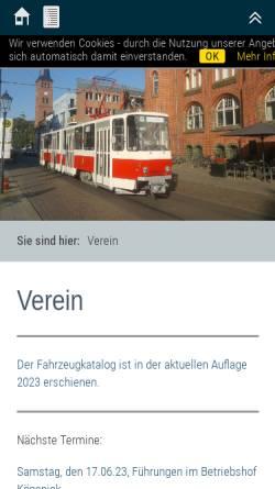 Vorschau der mobilen Webseite www.dvn-berlin.de, Denkmalpflege-Verein Nahverkehr Berlin e.V.