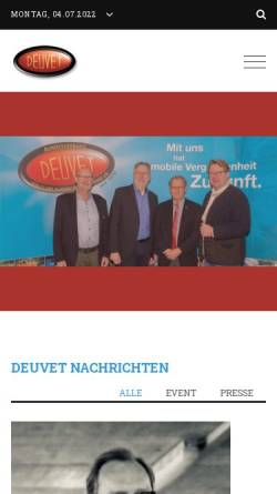 Vorschau der mobilen Webseite www.deuvet.de, DEUVET-Bundesverband Deutscher Motorveteranen-Clubs e.V.