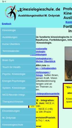 Vorschau der mobilen Webseite www.kinesiologieschule.de, Kinesiologieschule