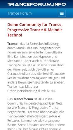 Vorschau der mobilen Webseite www.tranceforum.info, Tranceforum