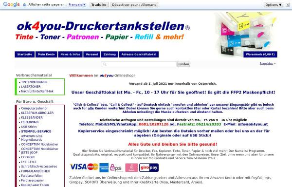 Vorschau von www.ok4you-shop.com, ok4you-Druckertankstellen, Olga Kendlbacher
