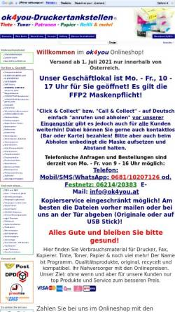 Vorschau der mobilen Webseite www.ok4you-shop.com, ok4you-Druckertankstellen, Olga Kendlbacher