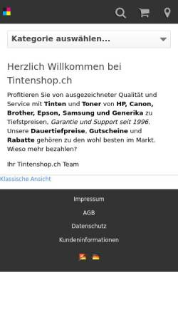 Vorschau der mobilen Webseite www.tintenshop.ch, Tintenshop.ch