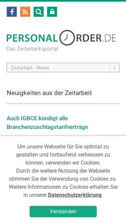 Vorschau der mobilen Webseite www.personalorder.de, Personalorder