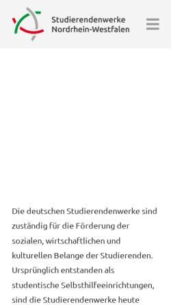 Vorschau der mobilen Webseite www.studentenwerke-nrw.de, Studentenwerke in NRW