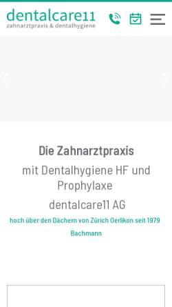 Vorschau der mobilen Webseite www.bachmann-dent.ch, Zahnarzt Dr. med. dent André Bachmann