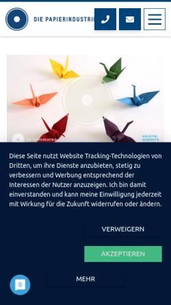 Vorschau der mobilen Webseite www.vdp-online.de, VDP, Verband Deutscher Papierfabriken e.V.