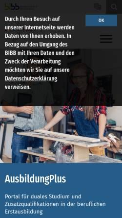 Vorschau der mobilen Webseite www.ausbildungplus.de, AusbildungPlus