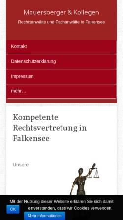 Vorschau der mobilen Webseite falkensee-rechtsanwalt.de, Rechtsanwaltskanzlei Mauersberger, Brehmel, Traupe