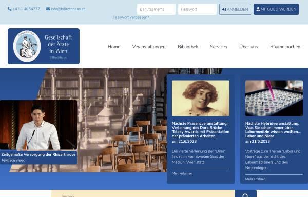 Vorschau von www.billrothhaus.at, Gesellschaft der Ärzte in Wien