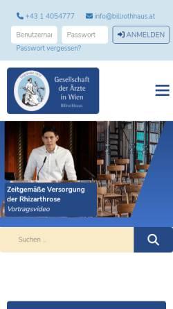 Vorschau der mobilen Webseite www.billrothhaus.at, Gesellschaft der Ärzte in Wien