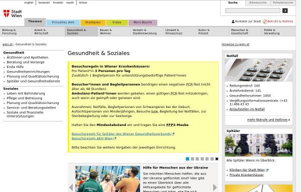 Vorschau von www.magwien.gv.at, Wien online: Gesundheit