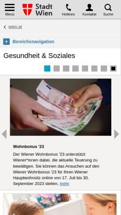 Vorschau der mobilen Webseite www.magwien.gv.at, Wien online: Gesundheit