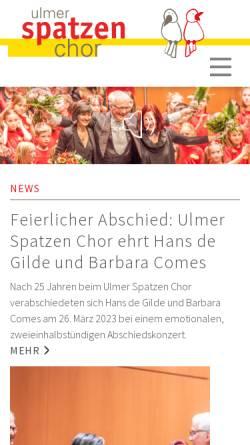 Vorschau der mobilen Webseite www.ulmer-spatzen-chor.ulm.de, Ulmer Spatzen Kinder- und Jugendchor