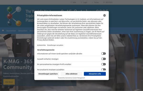 Vorschau von www.k-online.de, Internationale Messe Kunststoff und Kautschuk