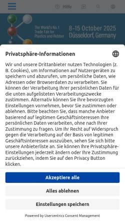 Vorschau der mobilen Webseite www.k-online.de, Internationale Messe Kunststoff und Kautschuk