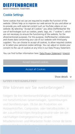 Vorschau der mobilen Webseite www.dieffenbacher.de, Dieffenbacher GmbH + Co. KG