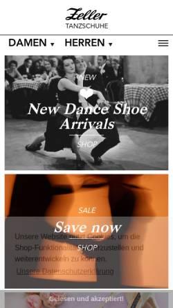 Vorschau der mobilen Webseite www.tanzschuhe.de, Zeller Tanzschuhe, Gisela Günther-Zeller