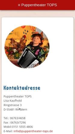 Vorschau der mobilen Webseite www.puppentheater-tops.de, Puppentheater Tops