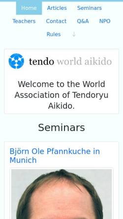 Vorschau der mobilen Webseite www.tendoryu.com, Tendoryu-Aikido Verband Deutschland e.V.