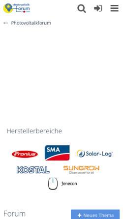 Vorschau der mobilen Webseite www.photovoltaikforum.com, Photovoltaik Forum