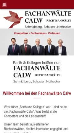 Vorschau der mobilen Webseite www.raebarth.de, Barth & Kollegen
