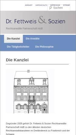 Vorschau der mobilen Webseite www.fettweis-sozien.com, Dr. Fettweis & Sozien