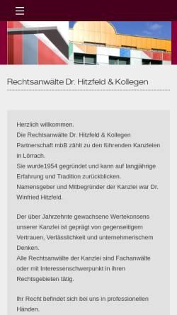 Vorschau der mobilen Webseite www.rechtsanwaelte-hitzfeld.de, Dr. Hitzfeld & Kollegen
