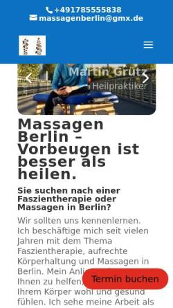 Vorschau der mobilen Webseite www.massagenberlin.com, Grütz, Martin