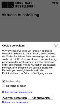 Vorschau der mobilen Webseite www.kunsthalle-duesseldorf.de, Kunsthalle
