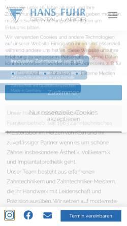 Vorschau der mobilen Webseite www.dentallabor.de, Dental-Labor Hans Fuhr GmbH & Co. KG