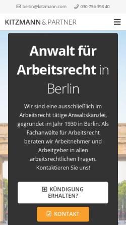 Vorschau der mobilen Webseite www.kitzmann.com, KITZMANN & PARTER Rechtsanwälte