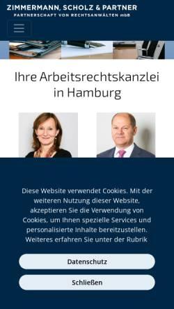 Vorschau der mobilen Webseite www.zimmermann-scholz.de, Zimmermann, Scholz und Partner