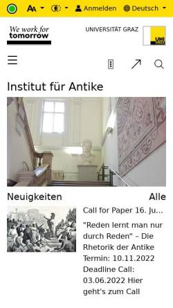 Vorschau der mobilen Webseite altegeschichte.uni-graz.at, Institut für Alte Geschichte und Altertumskunde
