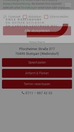 Vorschau der mobilen Webseite www.drkeilbach.de, Zahnarztpraxis Dr. med. dent. Reiner Keilbach