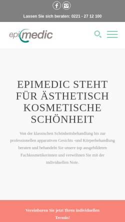 Vorschau der mobilen Webseite www.epimedic.de, Epimedic - Institut für dauerhafte Haarentfernung