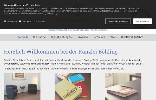 Vorschau von www.anwaltboehling.de, Rechtsanwalt Matthias Böhling