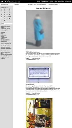 Vorschau der mobilen Webseite artax.de, Artax Kunsthandel KG