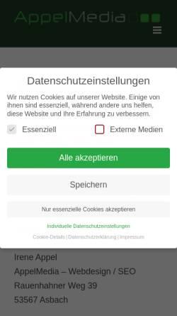 Vorschau der mobilen Webseite www.appelmedia.de, AppelMedia