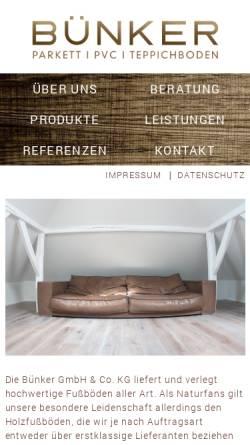 Vorschau der mobilen Webseite www.bünker-parkett.de, Nogstyle GbR
