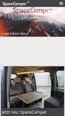 Vorschau der mobilen Webseite www.spacecamper.de, RW-Fahrzeugbau GmbH