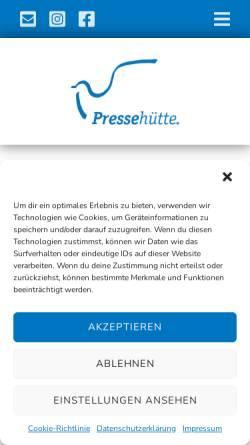 Vorschau der mobilen Webseite www.pressehuette.de, Freiraum