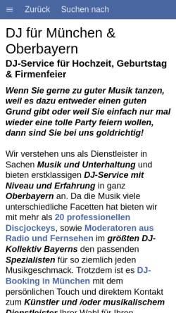 Vorschau der mobilen Webseite www.dj-muenchen.com, DJ München