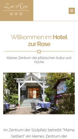 Vorschau der mobilen Webseite www.hotel-zur-rose.com, Hotel Restaurant Zur Rose