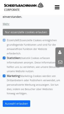 Vorschau der mobilen Webseite www.scheidt-bachmann.de, Scheidt & Bachmann GmbH