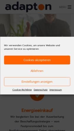 Vorschau der mobilen Webseite www.adapton.de, Adapton Energieysteme AG