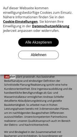 Vorschau der mobilen Webseite www.as-plan-gebaeudetechnik.de, Schleifer, Andreas