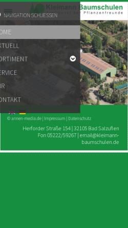 Vorschau der mobilen Webseite baumschule-kleimann.de, Baumschulen Jürgen Kleimann