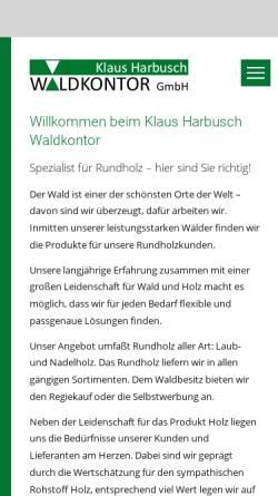 Vorschau der mobilen Webseite www.kh-waldkontor.com, Klaus Harbusch Waldkontor GmbH